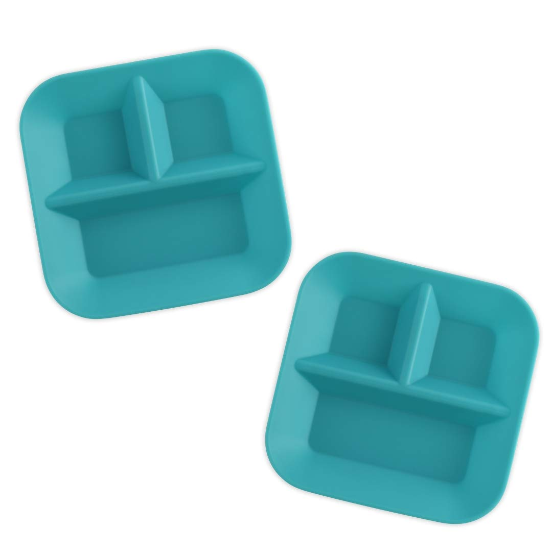 KIDDIEBITES | 100% Silicone Plates for Babies & Kids | Made in The USA | BPA, BPS, Lead, Cadmium, PVC, Phthalate Free | Childrens Divided Placemat Set | Teal, 2 Pack