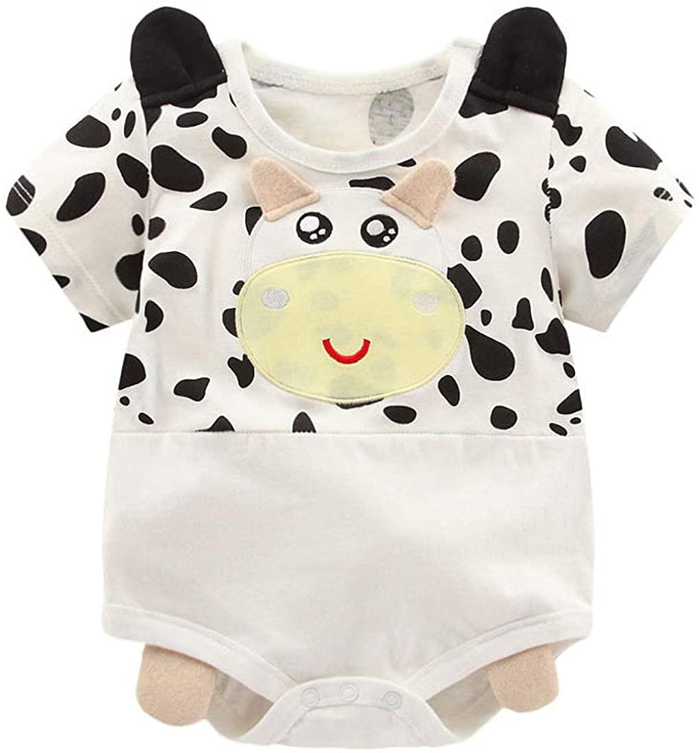 YIJIUJIU Newborn Baby Boy Girl Short-Sleeve Bodysuit Unisex Cartoon Style Onesies Clothes