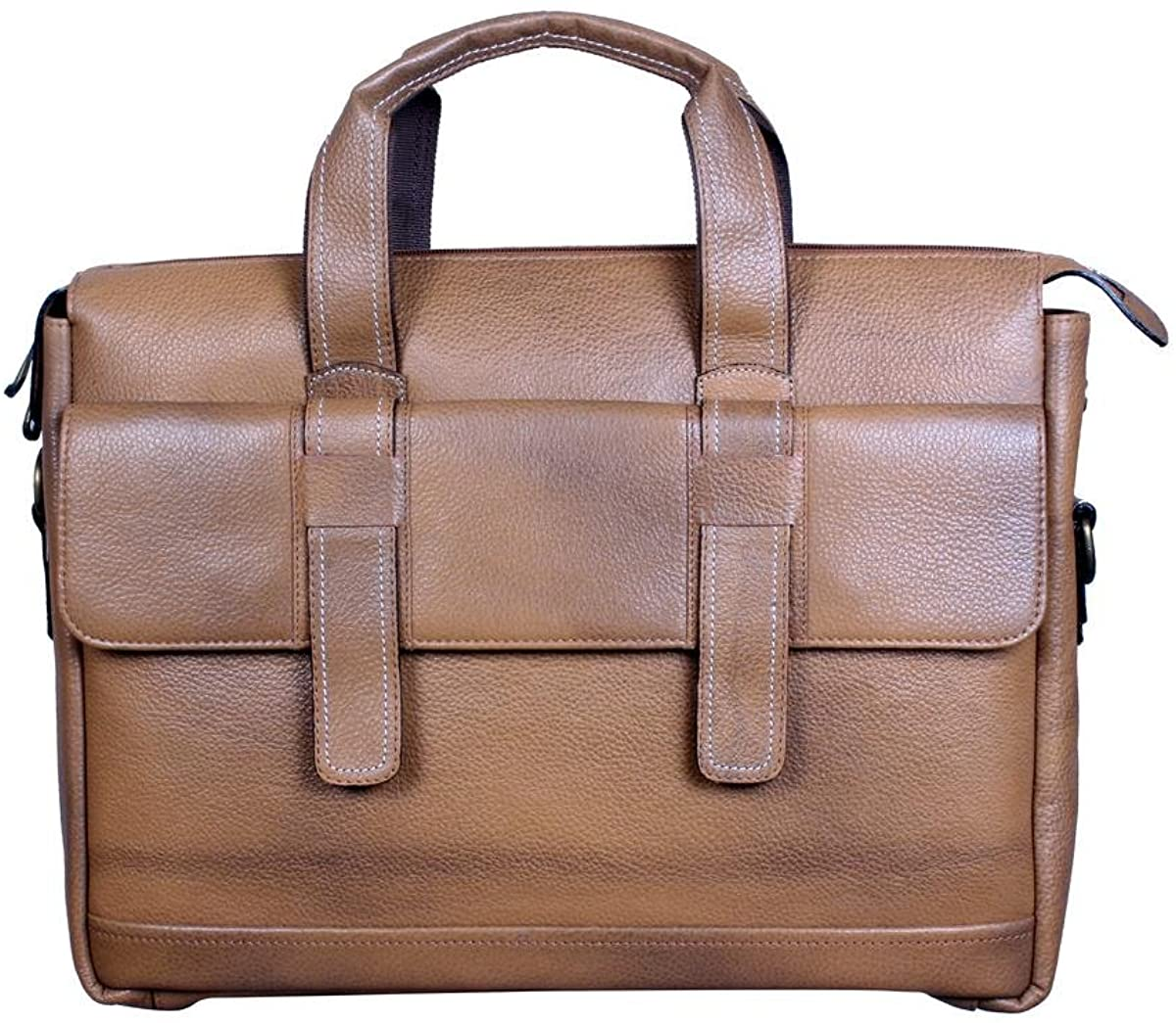 Marching Antz Office leather bags 2 loops Beige Ideal For 16 Inch Laptops