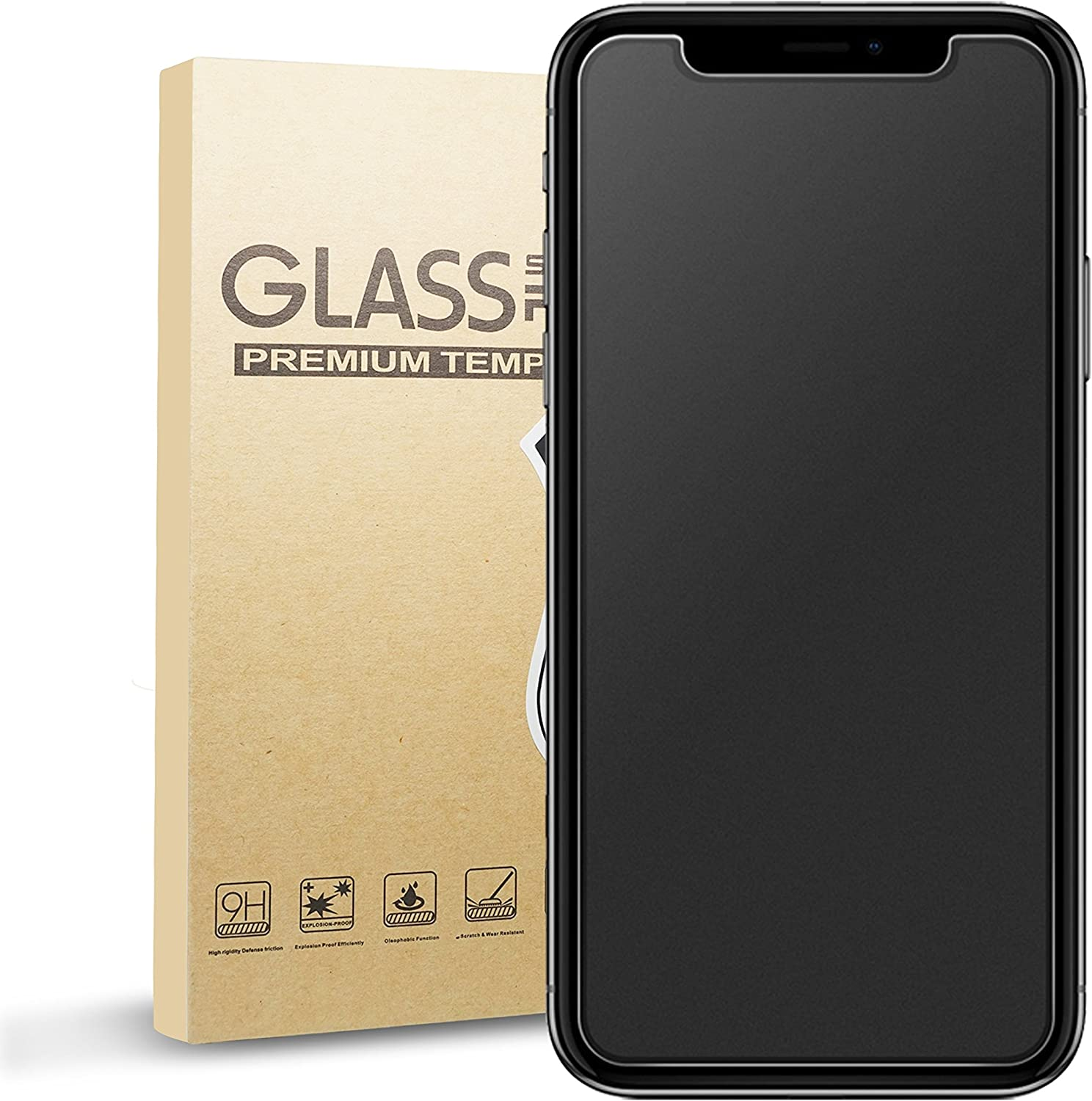 Eletek iPhone X Matte Screen Protector,Eletek Anti-Glare & Anti-Fingerprint Tempered Glass Clear Film Bubble Free Smooth Accurate Touch Ballistic Shield for iPhone X/10 [Case Friendly] [3D Touch]