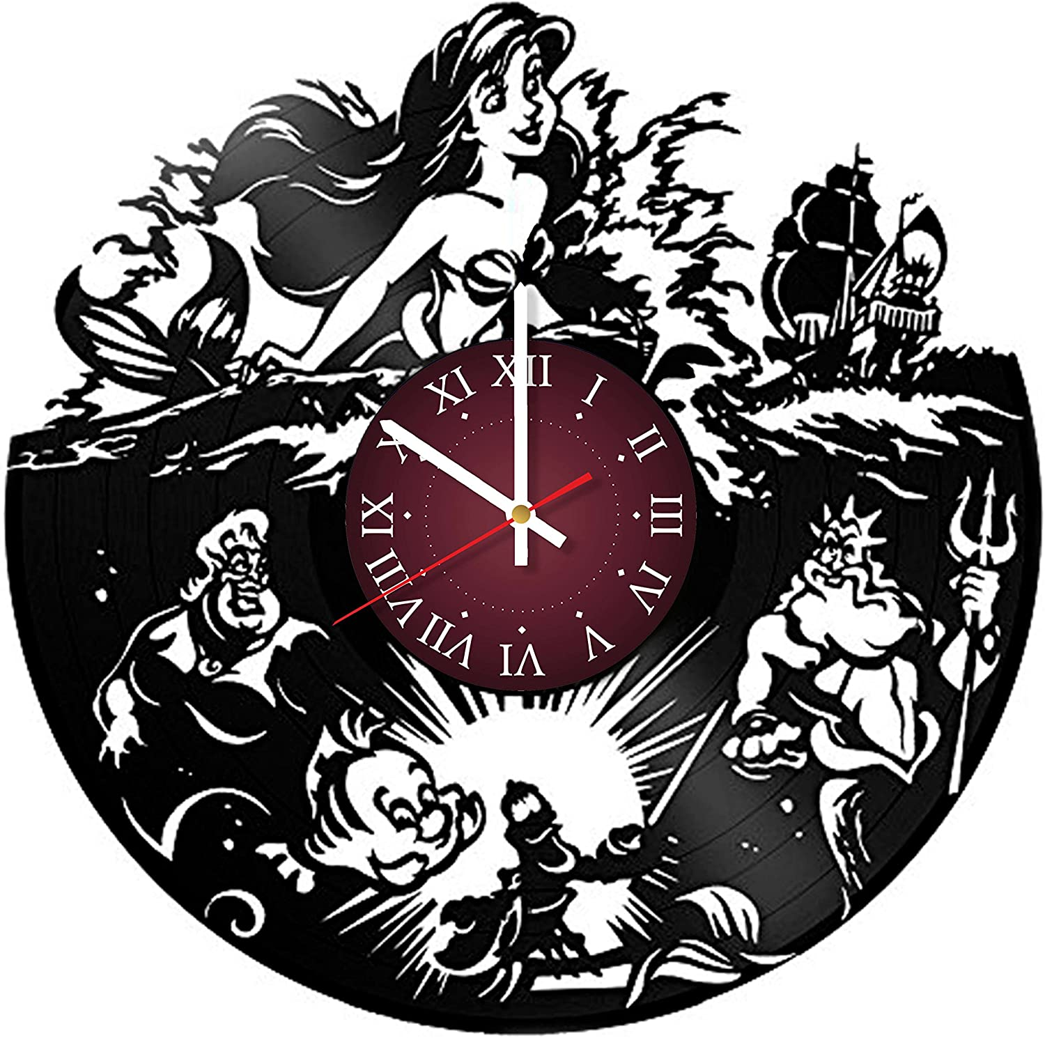 The Little Mermaid Vinyl Record Wall Clock - Kids Room wall decor - Gift ideas for kids, girls, boys, teens - Cartoon Unique Art Design