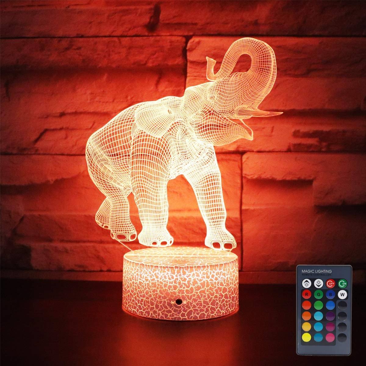Hguangs Elephant Lamp Gift 16 Colors Desk Table Night Light for Kids Party Supplies Birthday Valentine's Day Lover Boy Girl (Elephant Shape)