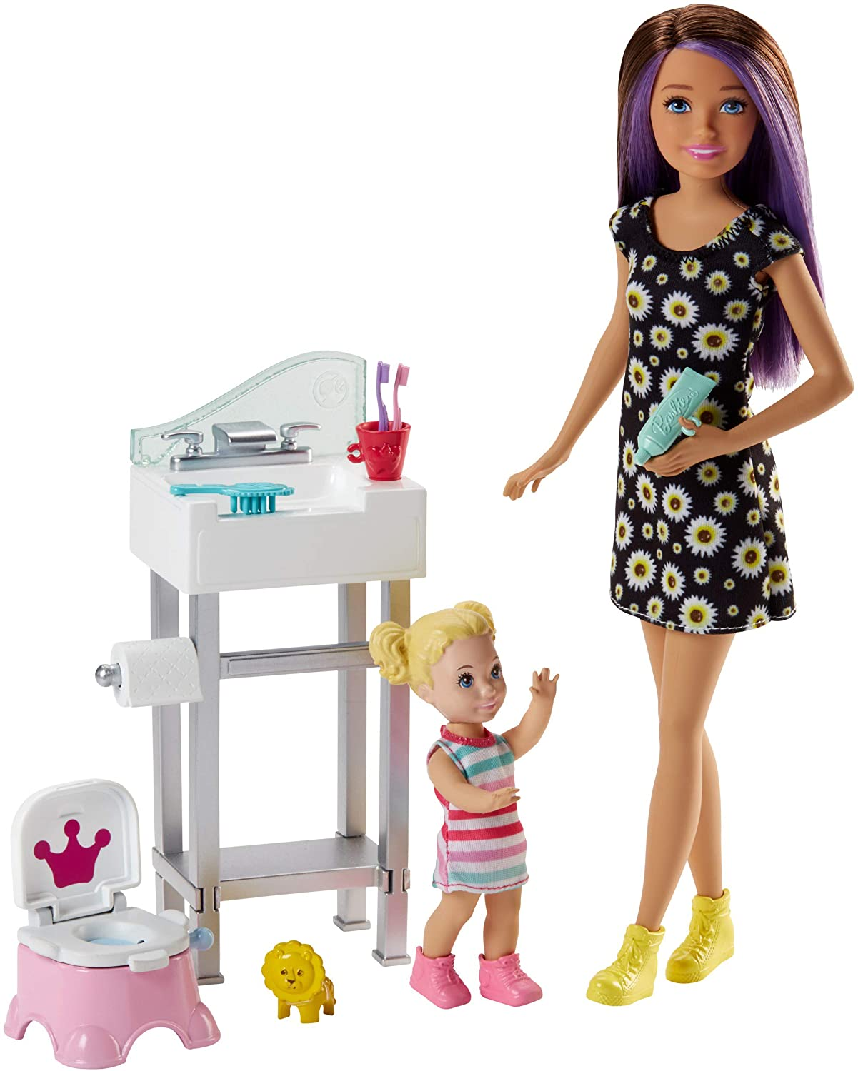 Barbie Babysitting Playset with Skipper Doll, Baby Doll, Sink, Flipping Potty Seat and Themed Accessories for 3 to 7 Year Olds