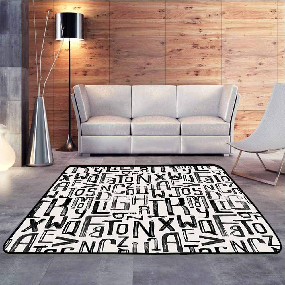 Home Decor Carpet Small Large Letters in Random Sizes Pattern Alphabet Modern Black White Baby Crawling Mat for Baby Nursery Decor, 5 x 7 Feet