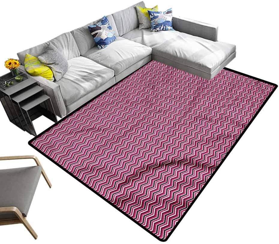 Chevron, Colorful Area Rug Zig Zag Ikat Style Baby Floor Playmats Crawling Mat for Kids Living Room Nursery Home Decor, 7'x 7'