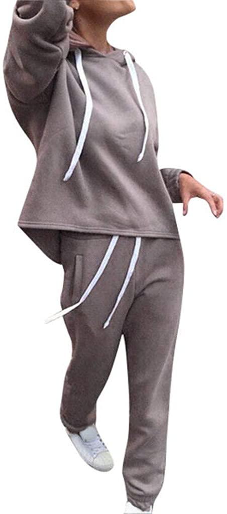 Women Sweatsuits, 2Pcs/Set Women Solid Color Hooded Sweatshirt Long Pants Jumpsuit Outfits Set - Tracksuit Sport Suit