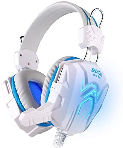 GROUPBUYLINK GS310 Stereo Gaming Headphone Computer Game Headset Headband with Microphone Glaring LED Light (Blue)