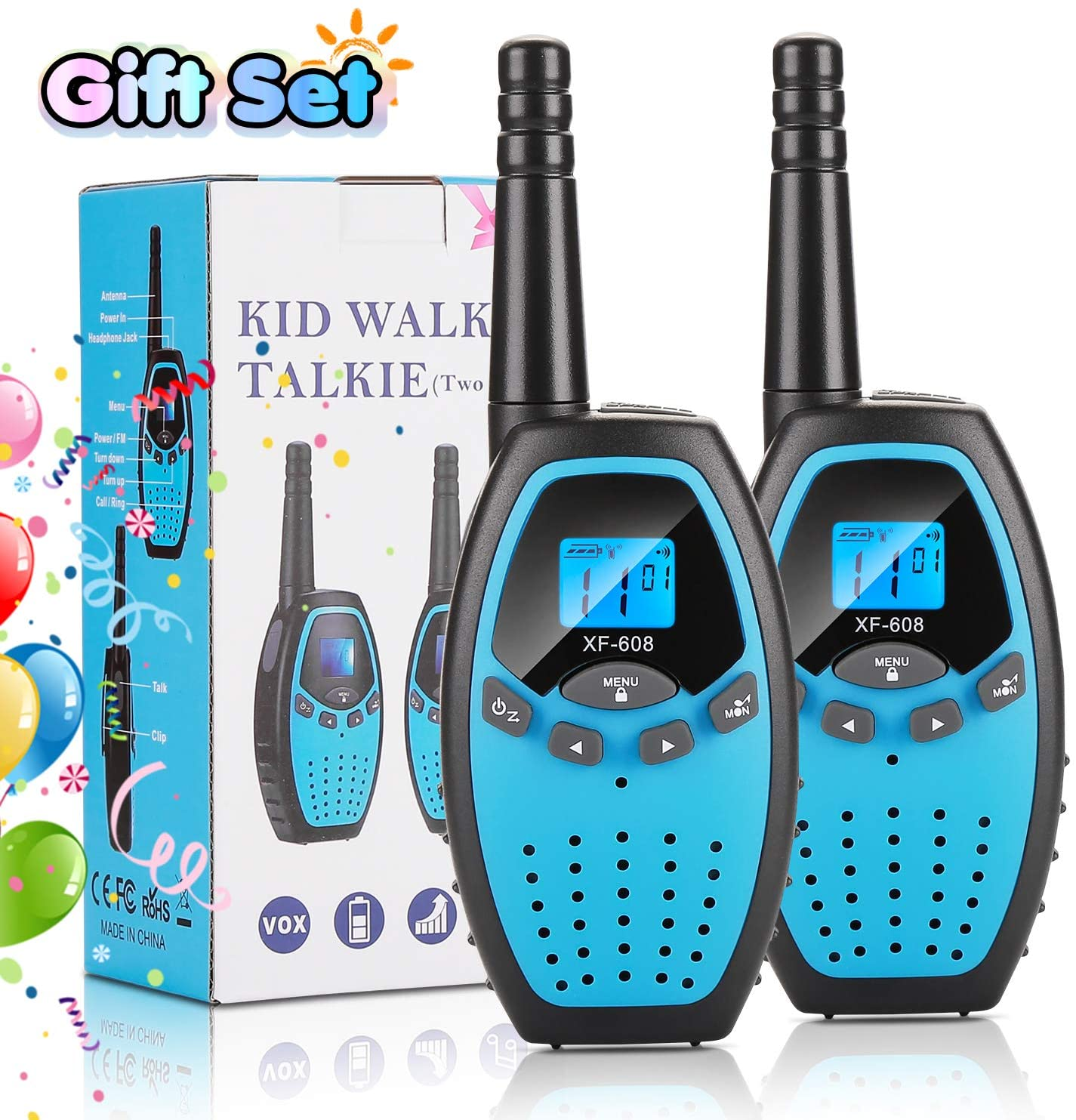 FITNATE Walkie Talkies for Kids 3 Kilometers Range, 22 Channels, Kids Toy with Battery Operated LCD Backlit Display, Perfect for Outdoor Adventures, Playground Amusement Park (2 Pack, Blue)
