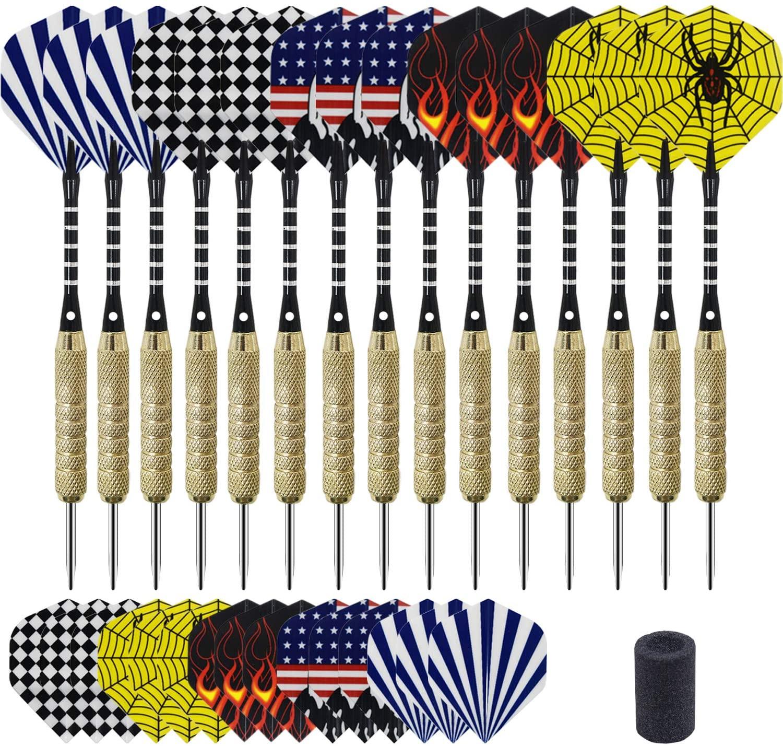 FVILIPUS Steel Tip Darts Set,15 Pcs(18 Grams) Professional Aluminum Dartboard Shafts and Brass Barrels,with Dart Sharpener and 15 Extra Flights,Used in Rec Room,Dorm Room,Bar and Game Room