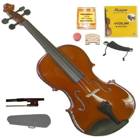 Merano MV20 1/2 Size Hand Made Solid Wood Violin with Hard Case and Bow+2 Sets Strings,2 Bridges,Pitch Pipe, Shoulder Rest, Rosin