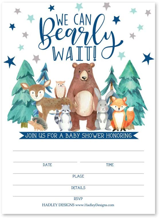 25 Can Bearly Wait Baby Shower Invitations, Sprinkle Invite for Boy or Girl, Coed Rustic Gender Reveal Neutral Theme, Cute Woodland Fill or Write in Blank Printable Card, Animal Party DIY Supplies