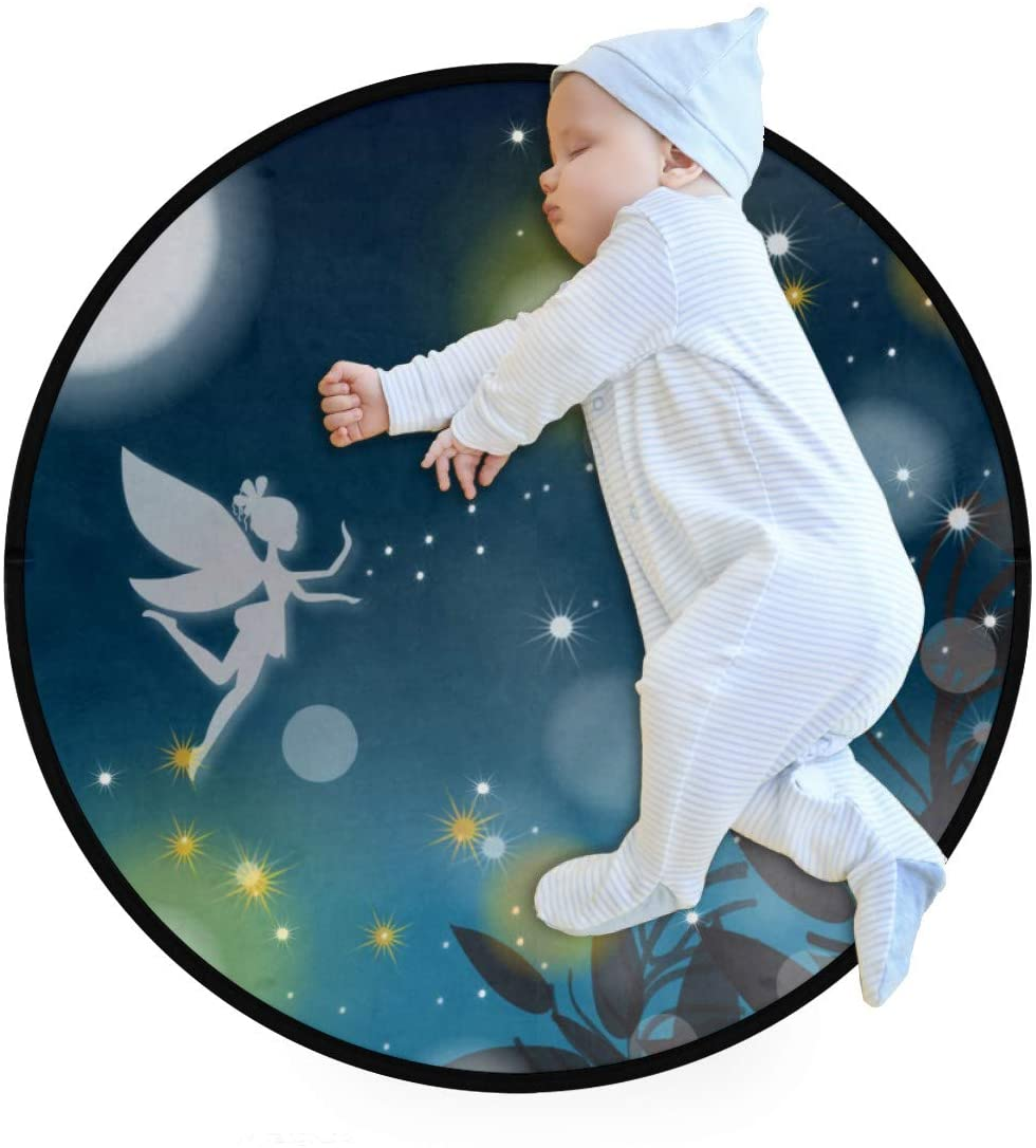 Night Fairy Moon Forest Kids Round Rug Baby Crawling Non-Slip Mats Child Activity Play Mat for Bedroom Playroom Home Decor (Diameter 31.5