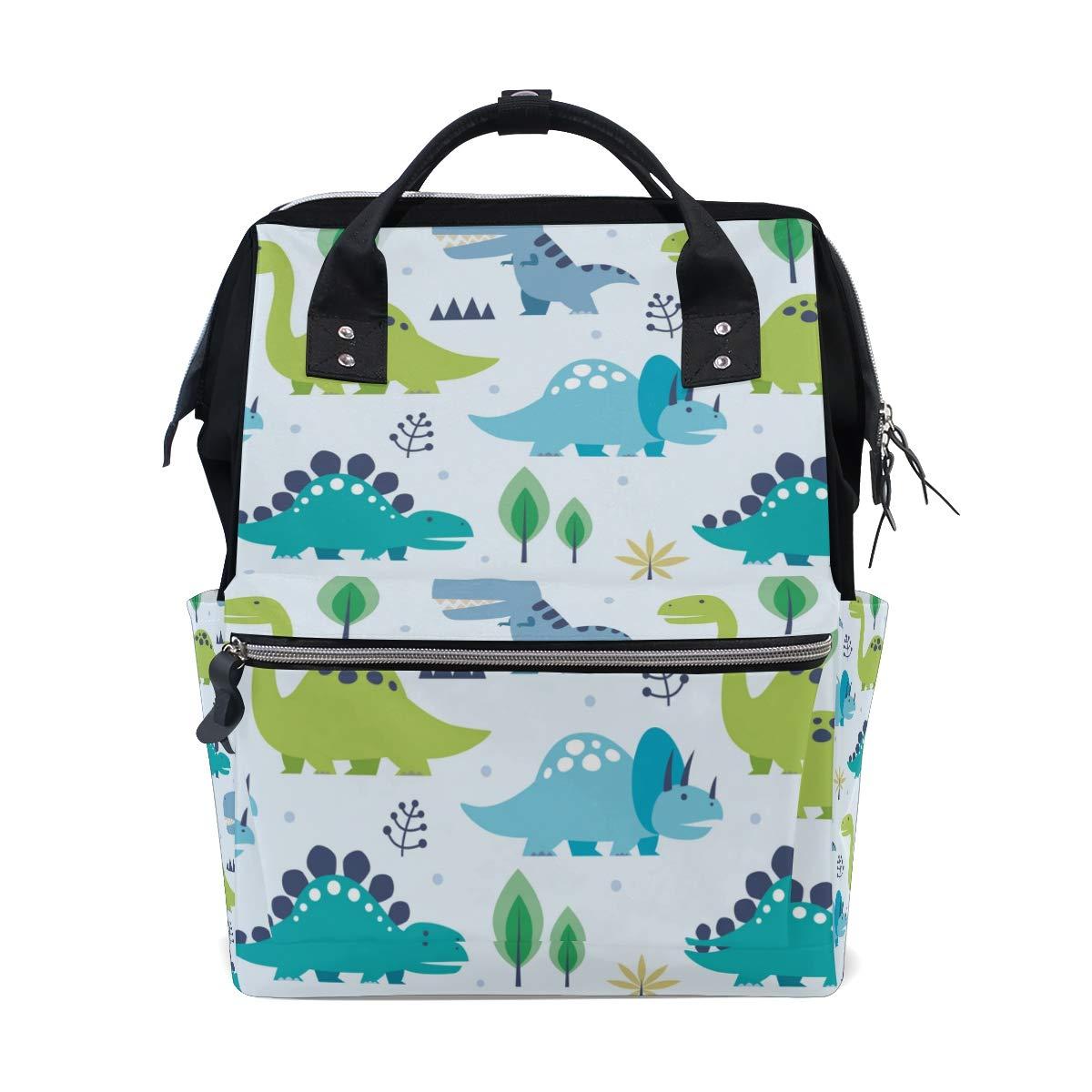 A Seed Backpack Baby Diaper Bag Dinosaurs Blue for Girls Women Tote Daypack Bookbag