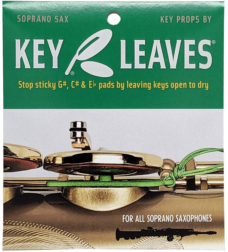 Key Leaves soprano saxophone key props to stop sticky pads, protect pad leather and keep your saxophone cleaner