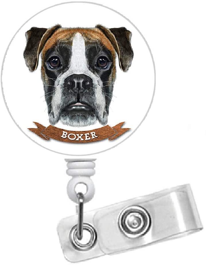 Boxer Retractable ID Badge Holder - RN Nurse Badge Clip - Dog Badge Reel - Nursing Badge - Teacher Badge Holder - Animal Badge Clip - Veterinarian ID - Vet Tech Badge (Alligator Swivel Clip)