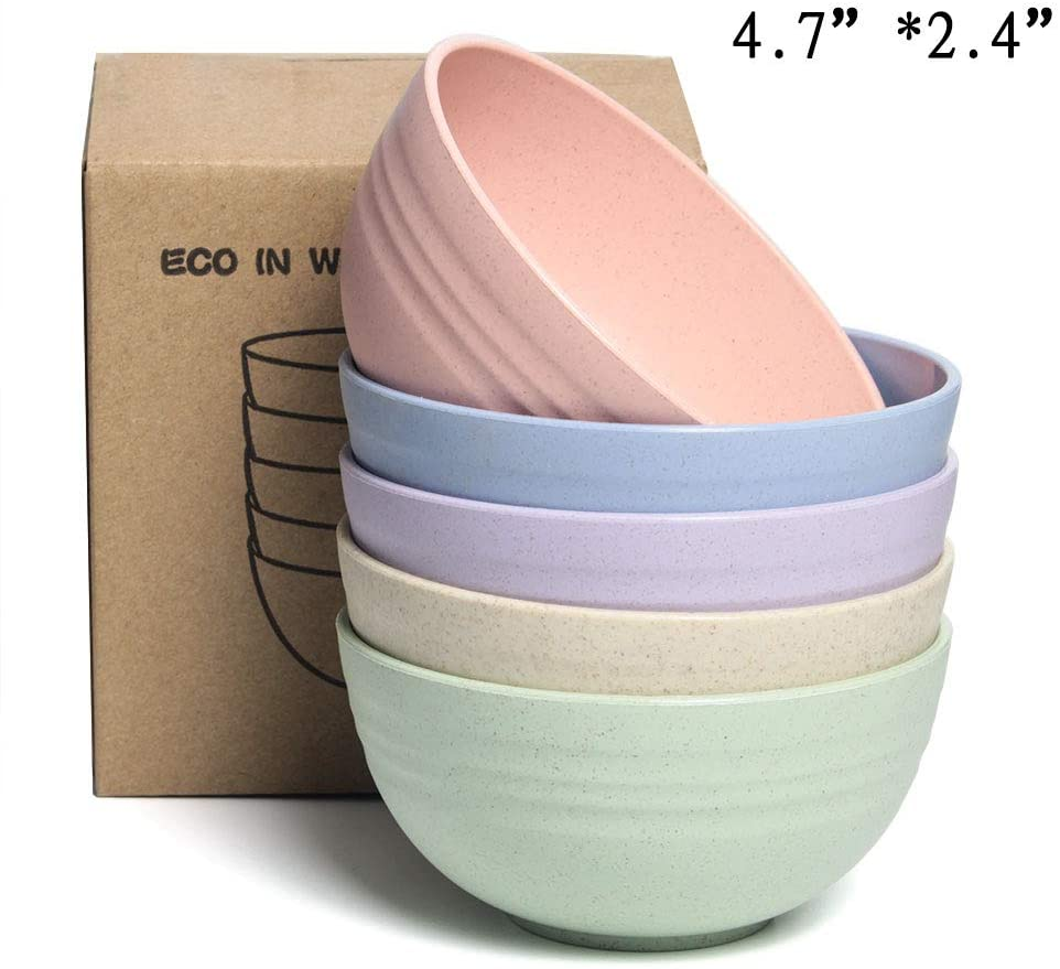 NAWOVAO Lightweight Unbreakable Kids Bowls, Wheat Straw BPA Free Bowl Sets for Baby/Toddler/Children Feeding - 5 Pcs 4.7
