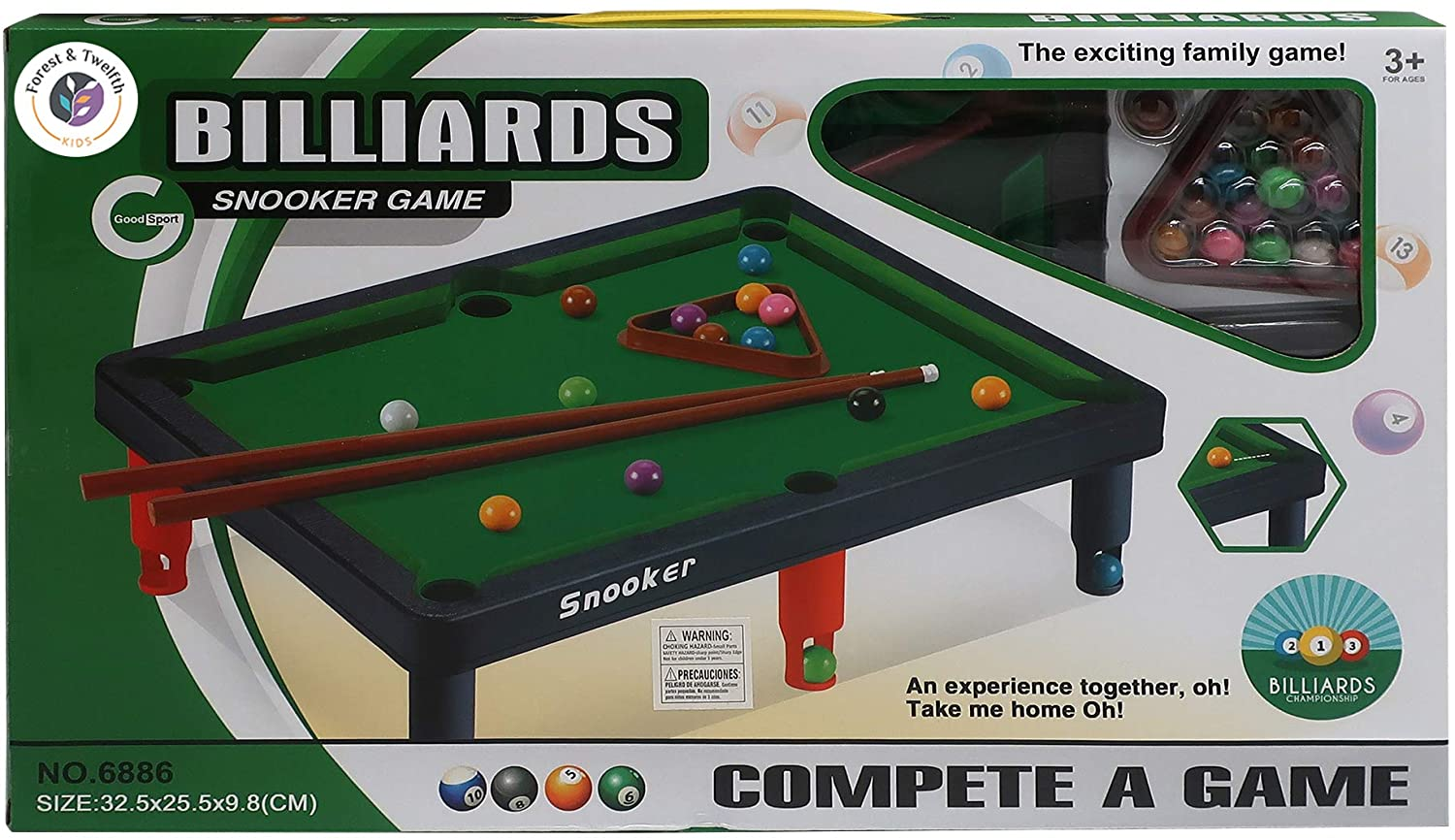 Forest & Twelfth Mini Tabletop Pool Table Kids Table-Top Billiards Game for Kids and Adults – Great for Fun Times at Home