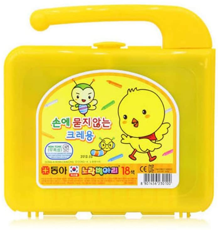 Dong-A Ultra-Clean Non-Toxic Easy Grip Cute Chick Crayons for Baby Toddlers Kids Children Boys Girls Adult School Art Craft Supplies Coloring Drawing Home Hobbies (18 color)