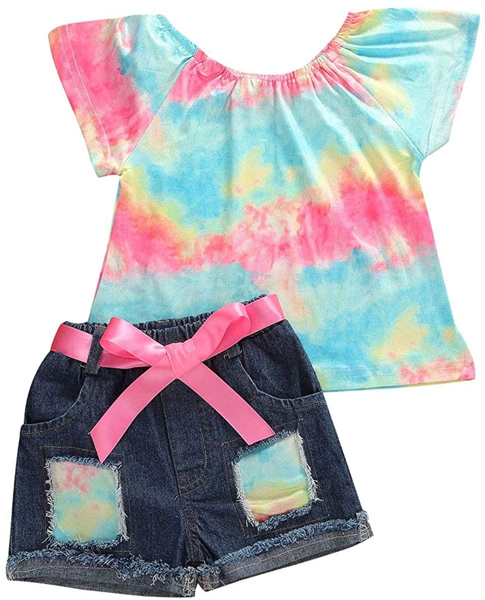 Toddler Baby Girls Denim Shorts Outfits Sleeveless T-Shirt Tops Hipster Jean Pants Summer Clothes Set
