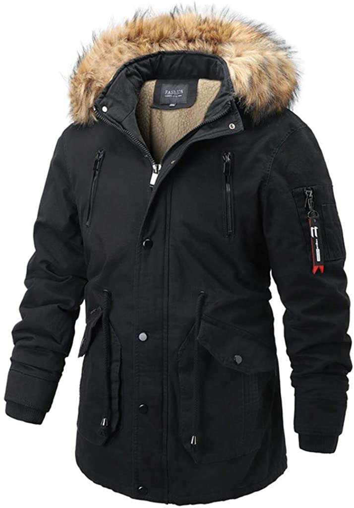 Mens Winter Parka Jackets Removable Hooded Frost-Fighter Sherpa Lined Outwear