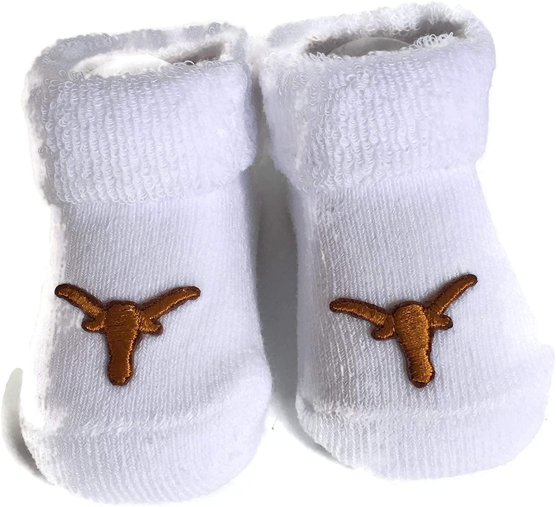 Texas Longhorns Baby Booties UT White Infant Socks NCAA Licensed Logo