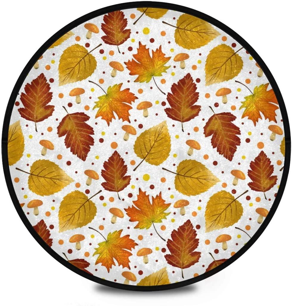 Thanksgiving Shaggy Round Mat Autumn Leaves Thanksgiving Bedroom Carpet for Kids Bathroom Anti-Slip Rug Room Carpets