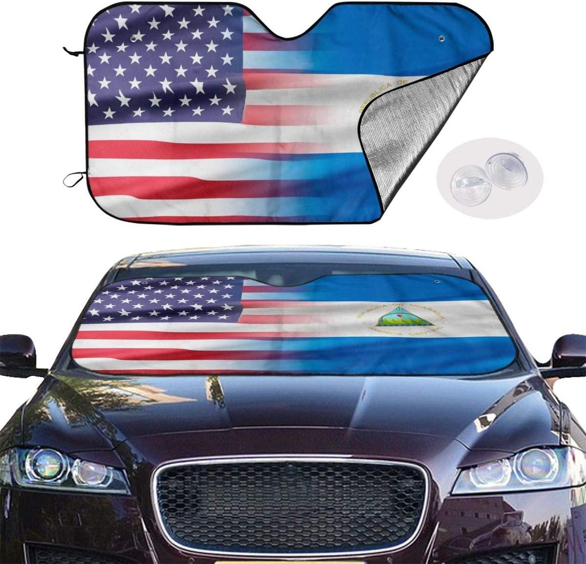 THONFIRE Car Windshields Sun Shades USA and Nicaragua Flag Blocks Heat Keeps Your Vehicle Cool Visor Protector Trucks Front Window Heatshield