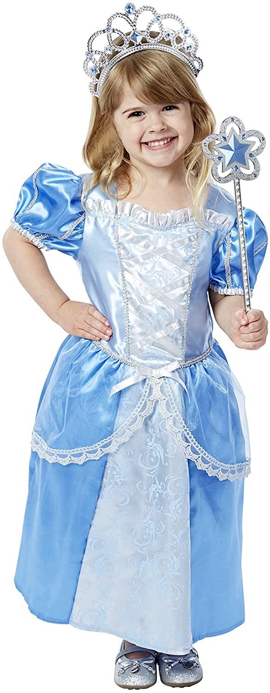 Melissa & Doug Royal Princess Role Play Costume Set (3 pcs) - Blue Gown, Tiara, Wand