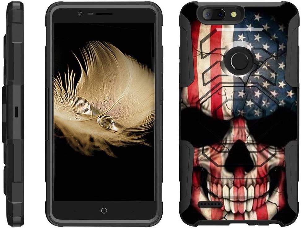 TurtleArmor | Compatible with ZTE Blade Z Max Case | ZTE ZMax Pro 2 Case [Octo Guard] Dual Layer Case Holster Belt Clip Sturdy Kickstand Cover - US Flag Skull
