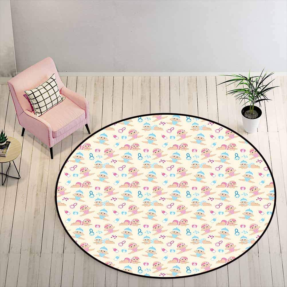 Carpet Baby Boy Girl Crawling Lying Down Rattle Ball Milk Bottle Pattern Brother Sister Print Round Rug Mat Beautiful Design - Very Rich Looking Ivory Blue Pink Diameter - 3 Feet
