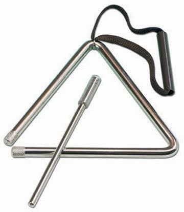 Triángulo de acero grueso, 25 cm. Muy buena sonoridad. Batidor incluido