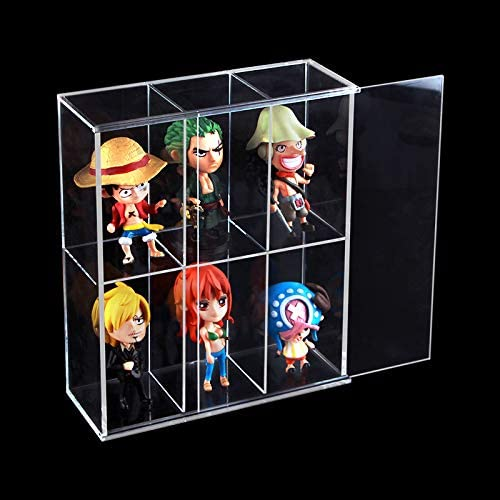 "Clear Mounted Acrylic Display Case Organizer Storage Box Rack 6 Compartments (2.4""x2.4""x4.3"") - Sliding Door Dustproof Protection Showcase for Mini Figure Action Collectibles Stone(7.7"