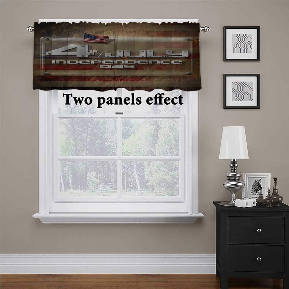 shirlyhome 4th of July Window Treatments Independence Day Text for Kids Room/Baby Nursery/Dormitory, 54 Inch by 18 Inch 1 Panel
