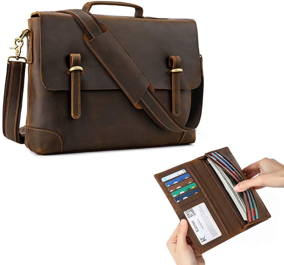 Kattee Genuine Leather Messenger Bag 15.6 Inch Laptop Briefcase and Mens Vintage Genuine Leather Long Wallet
