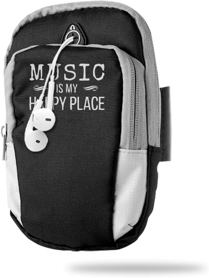 Sports Arm Bag Free Gym Phone Armbands Cell Phone Arm Holder Music is My Happy Place Pouch Case with Earphone Hole for Running for Men Mini Shoulder Bag Travel Women Kids Handbag