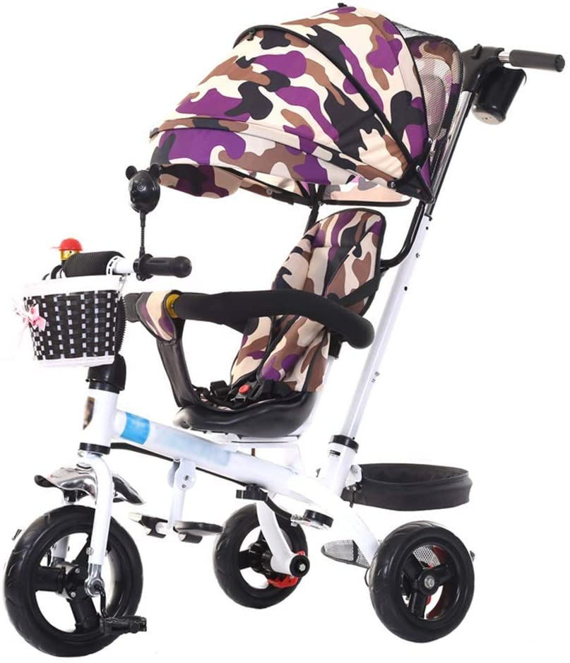 GFF Pushchair Unique Baby Stroller Trolley Carriage for 1-6 Years Old Kids Children's Tricycle Bike  Adjustable armrest Rotating Seat  Clutch  Safety Harness Brakes