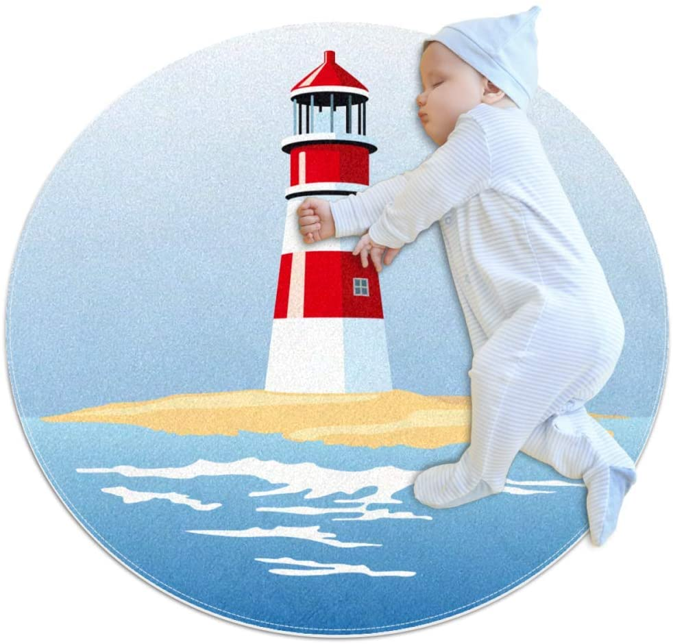 Lighthouse Beach Sea Baby Playmat Home Decorative Carpet Soft and Washable Pad Non-Slip for Kid's Toddler Infants Room 31.5x31.5IN