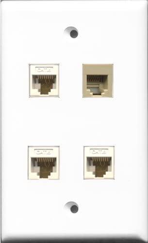 RiteAV 1 Port Phone RJ11 RJ12 Beige 3 Port Cat6 Ethernet White Wall Plate