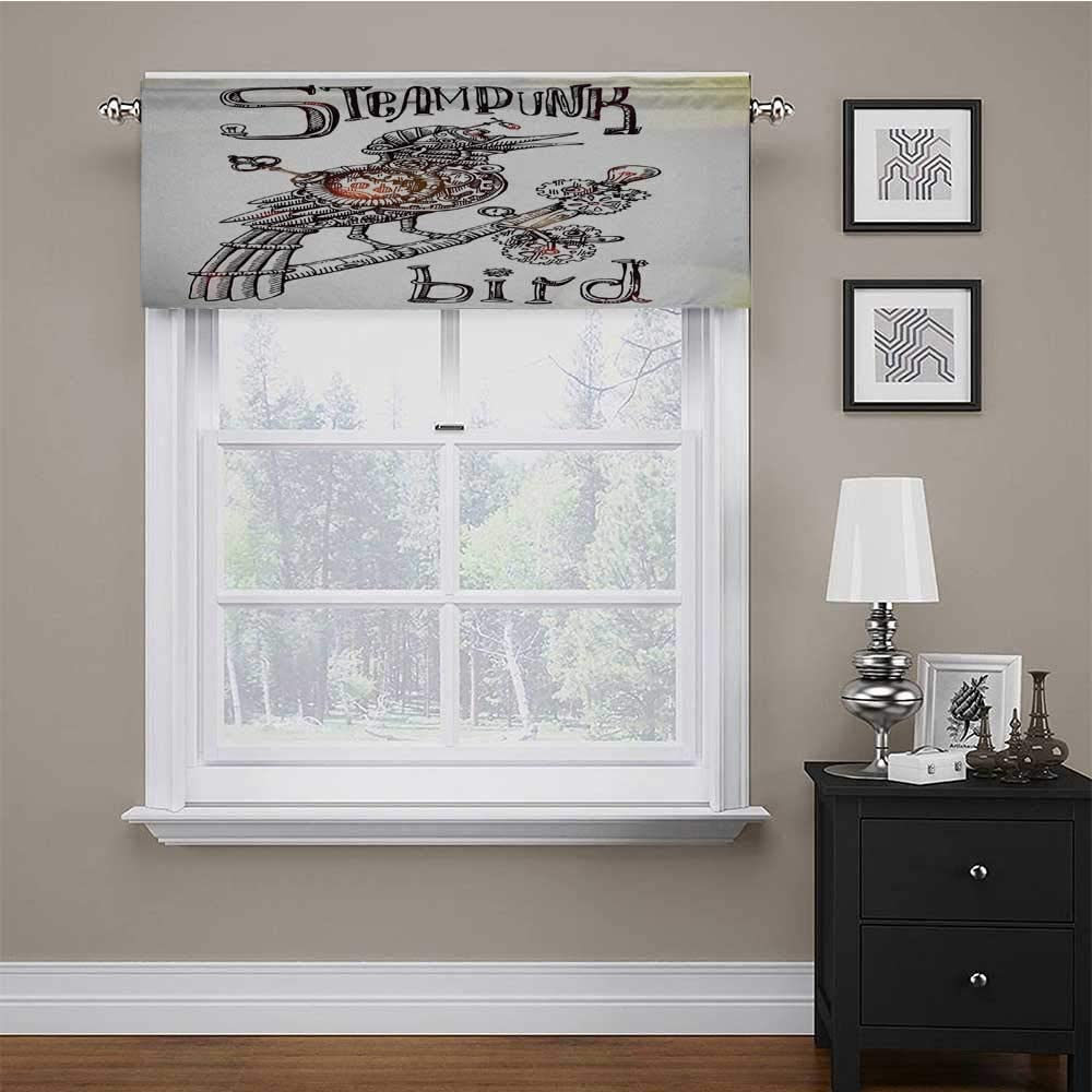 carmaxs Valances Window Treatments Surrealistic for Kids Room/Baby Nursery/Dormitory Steampunk Bird Mechanical Animal Modern Times Fiction Print 56