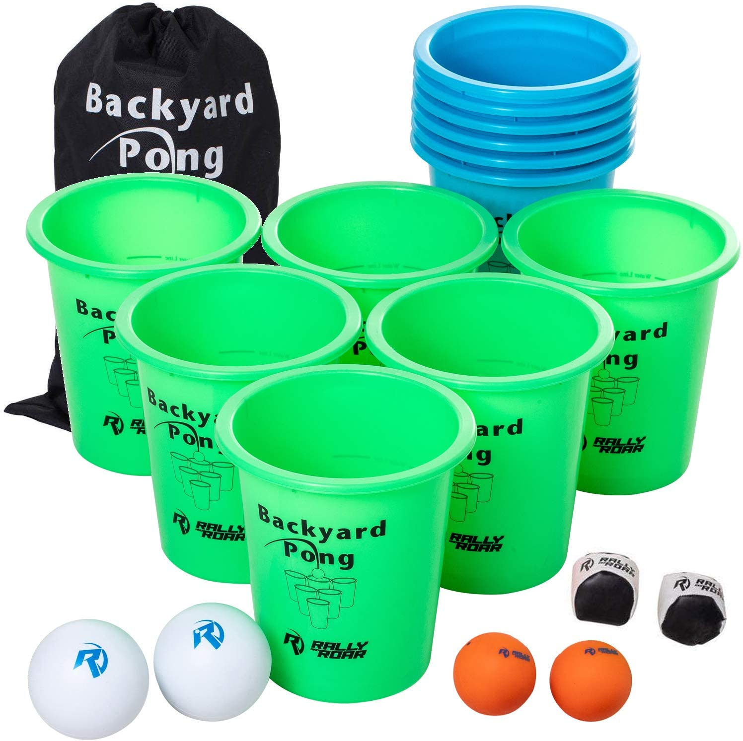 Jumbo PREMIUM Beer Pong Set for Outdoors by Rally and Roar – Dual Colored Cups, 6 balls - Fun Drinking Games for Adults, College Age - Jumbo Cup and Pong Throwing Game for Yard, Party, Bar, Lawn