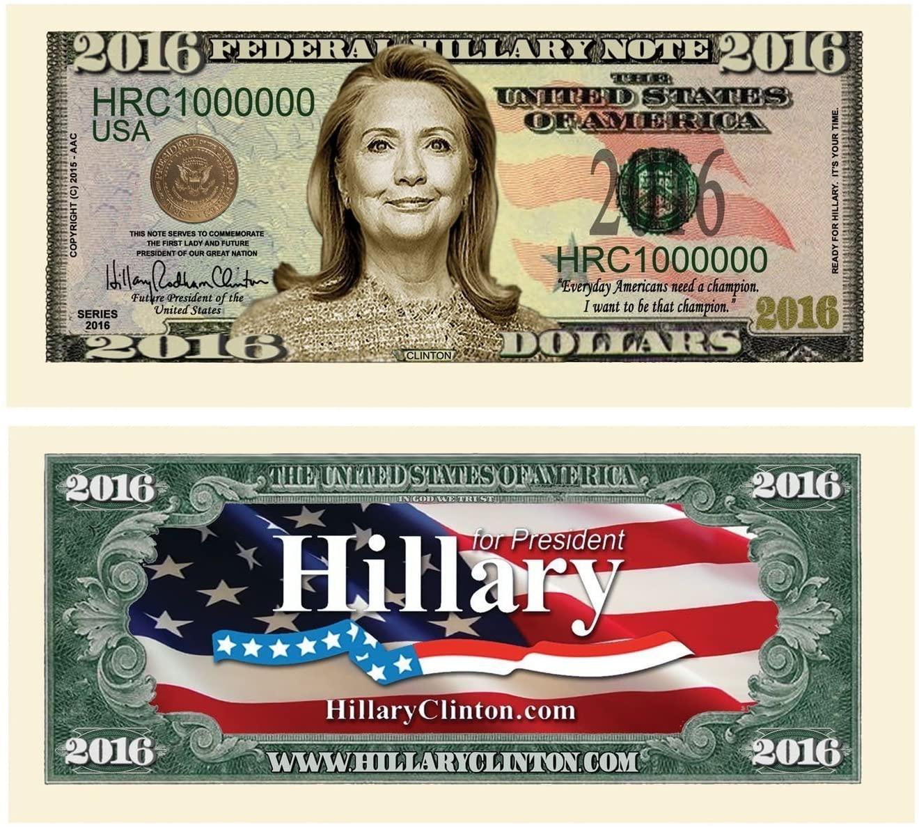 "10 Hillary Clinton 2016 Presidential Dollar Bill with Bonus ""Thanks a Million"" Gift Card Set"