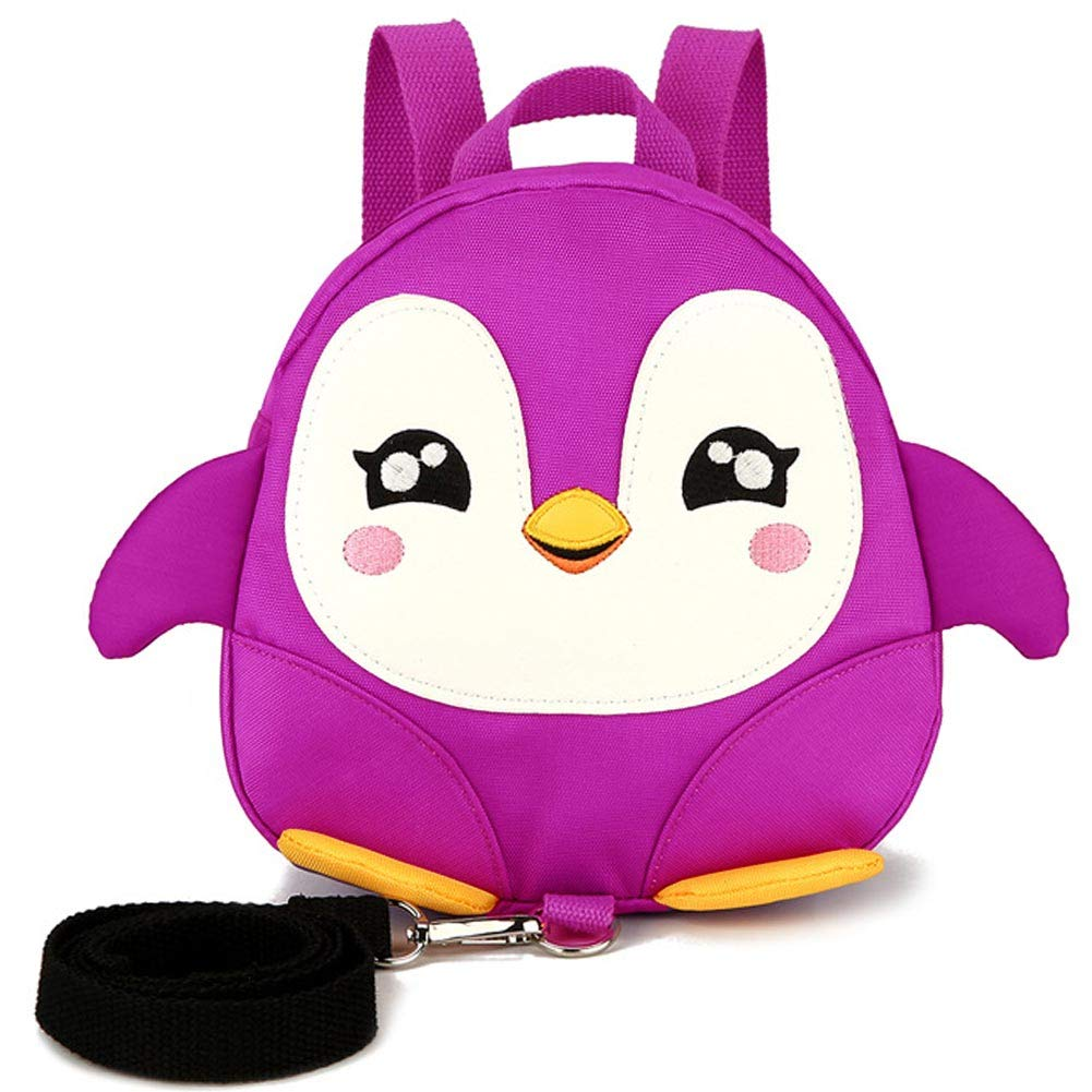 Backpack Toddle Kid Children with Reins Removable Tether Lightweight Oxford Fabric Penguin Rucksack Cute with Harness Cartoon Safety Zipper Pocket Adjustable Strap Gift(Purple)
