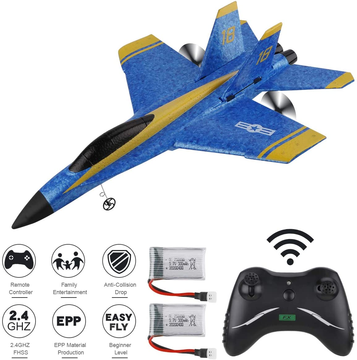 Makerfire RC Plane F-18 Remote Control Airplane 2.4GHz 3.5 Channel 6-Axis Gyro RTF Plane Ready to Fly for Kids Boys Beginner