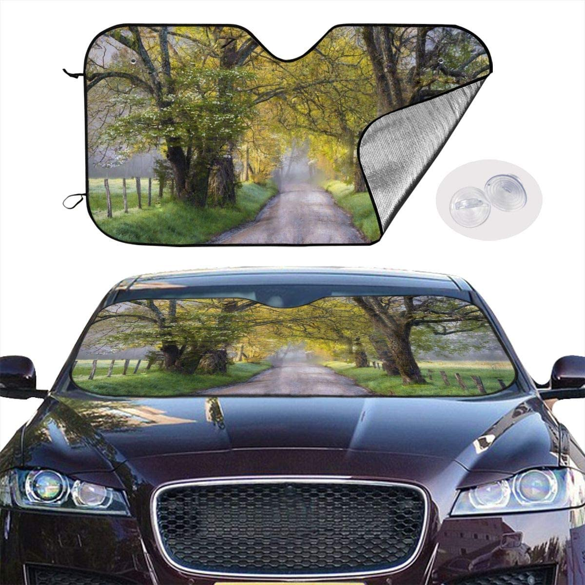 THONFIRE Car Windshield Sunshade Scenic Park Yellow Leaf Blocks Heat Keeps Your Vehicle Cool Visor Protector Automobile Front Window Heat Reflector