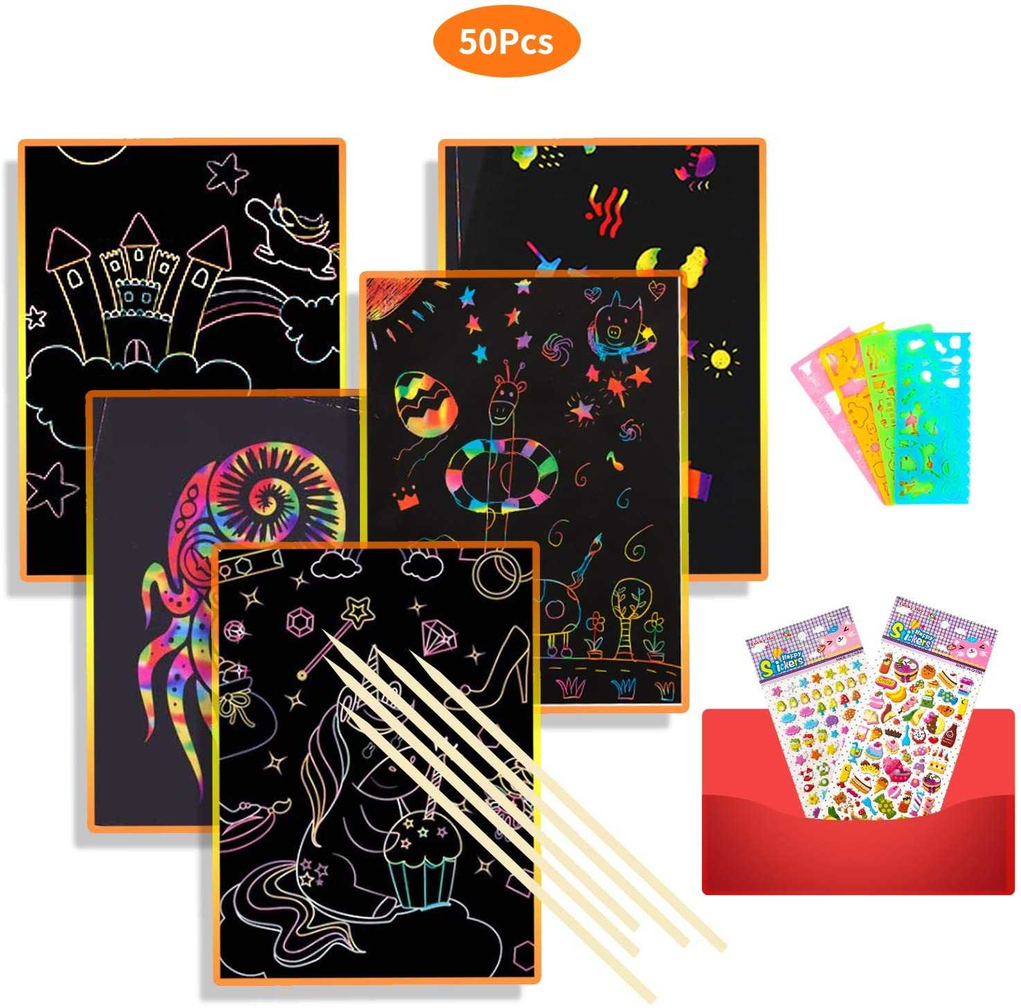 OtRainbow Scratch Art Set, 50 Big Pcs Rainbow Magic Scratch Paper for Kids Black Scratch Off Art Crafts Notes Boards Sheet with 5 Wooden Stylus for Festival Party Game Christmas Birthday Gift