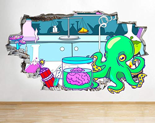 Science Lab Brain Octopus Smashed Wall Decal 3D Art Stickers Vinyl Room