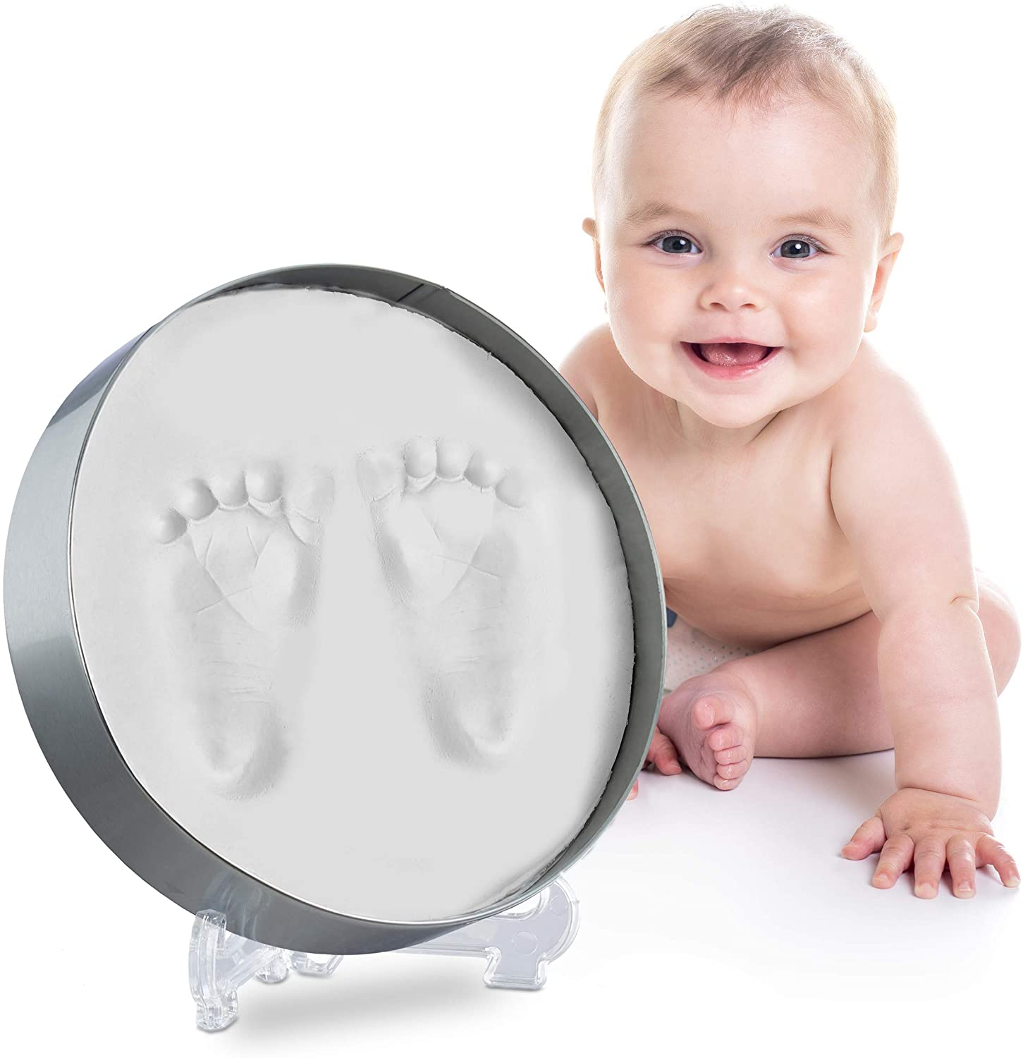 Relaxdays Baby Casting Set, for Footprints and Handprints, Round Infant Imprint Kit, Complete, HxWxD: 16 x 16 x 4 cm, White