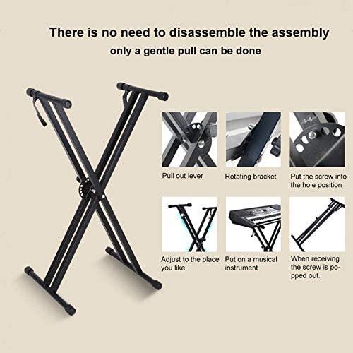 SHIJING Portable X-Style Keyboard Stand Double Braced Music Electric Organ Holder Adjustable Height