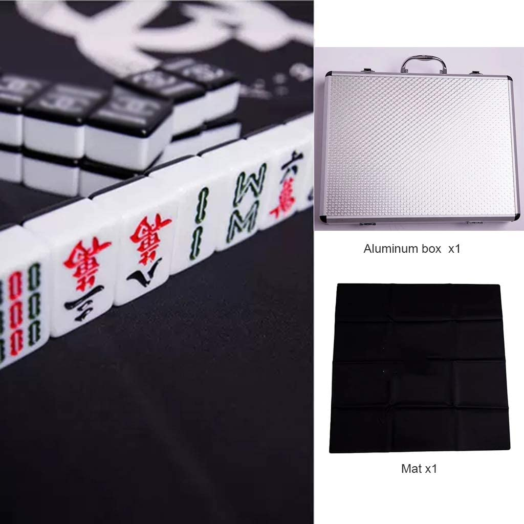 Chinese Mahjong Board Game Mah Jong Tile Games Game Set Chinese Traditional Mahjong Games Entertainment Best Gift for Chinese Culture Lover Melamine (Color : Black 2, Size : 413221 mm)