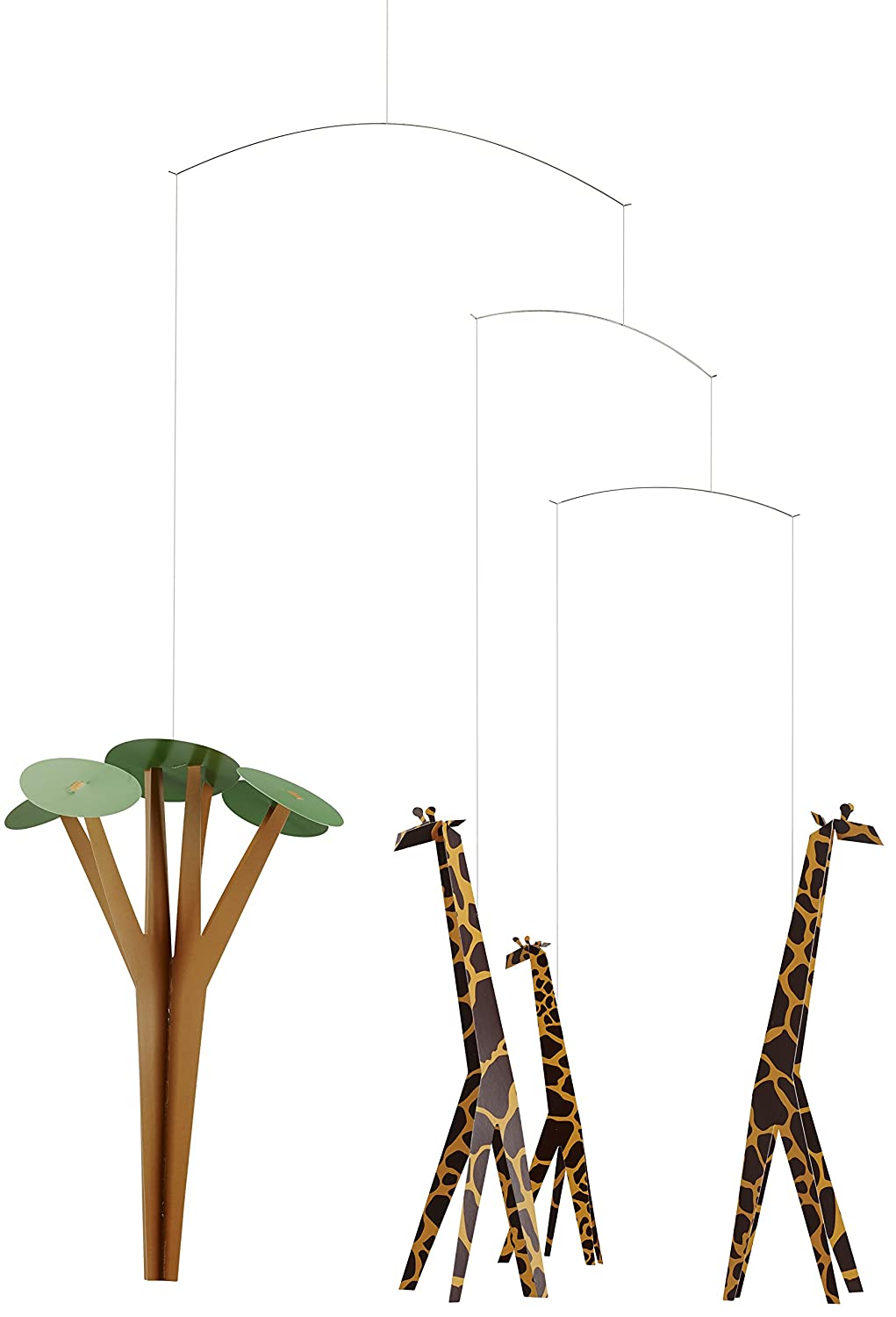 Giraffes On The Savannah Hanging Nursery Mobile - 24 Inches - Handmade in Denmark by Flensted